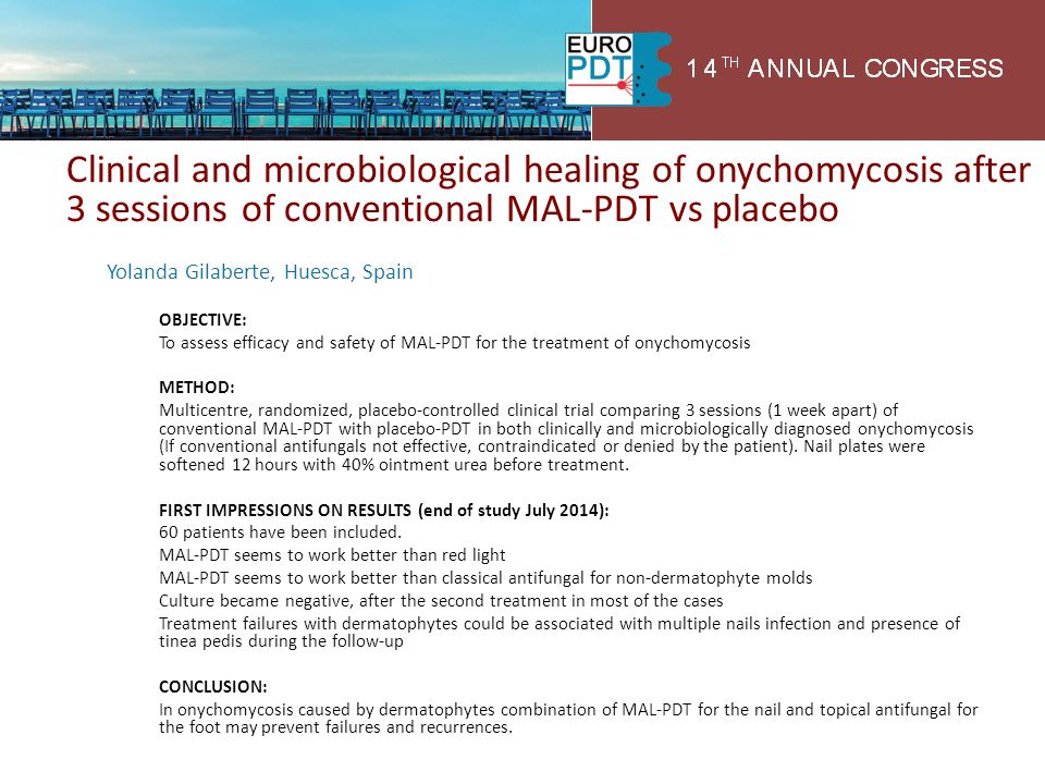 Clinical and microbiological healing of onychomycosis after 3 sessions of conventional MAL-PDT vs placebo