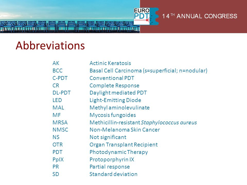 Abbreviations AK Actinic Keratosis