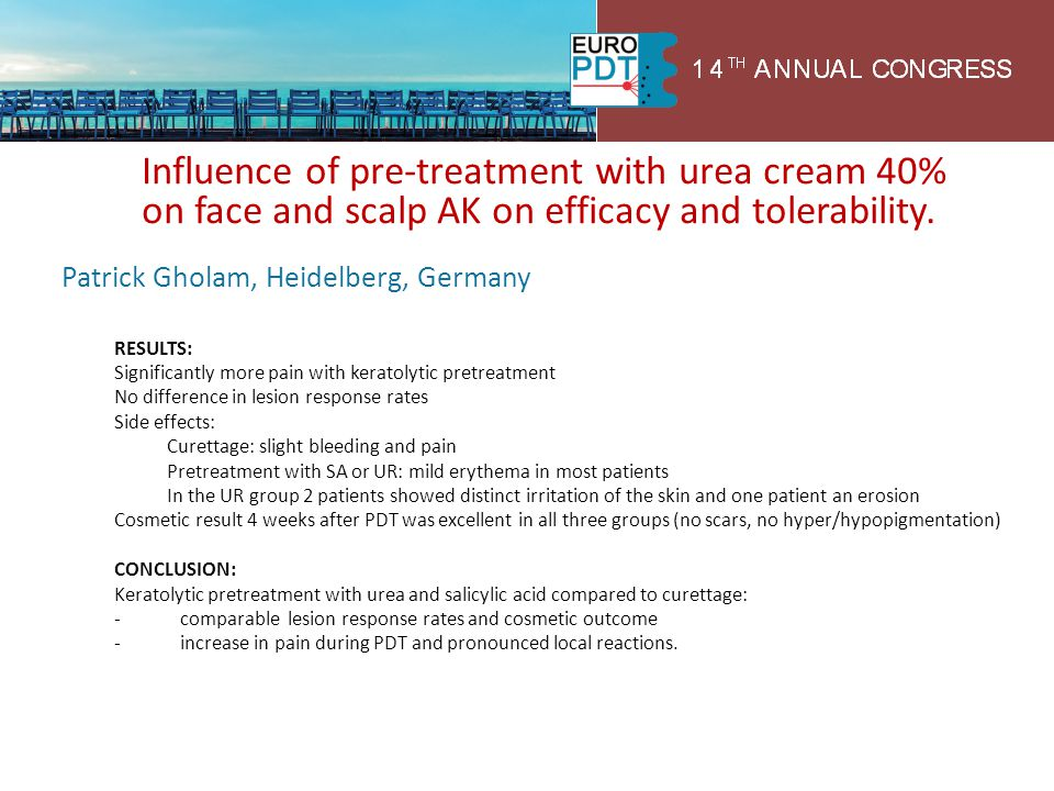 Influence of pre-treatment with urea cream 40% on face and scalp AK on efficacy and tolerability.