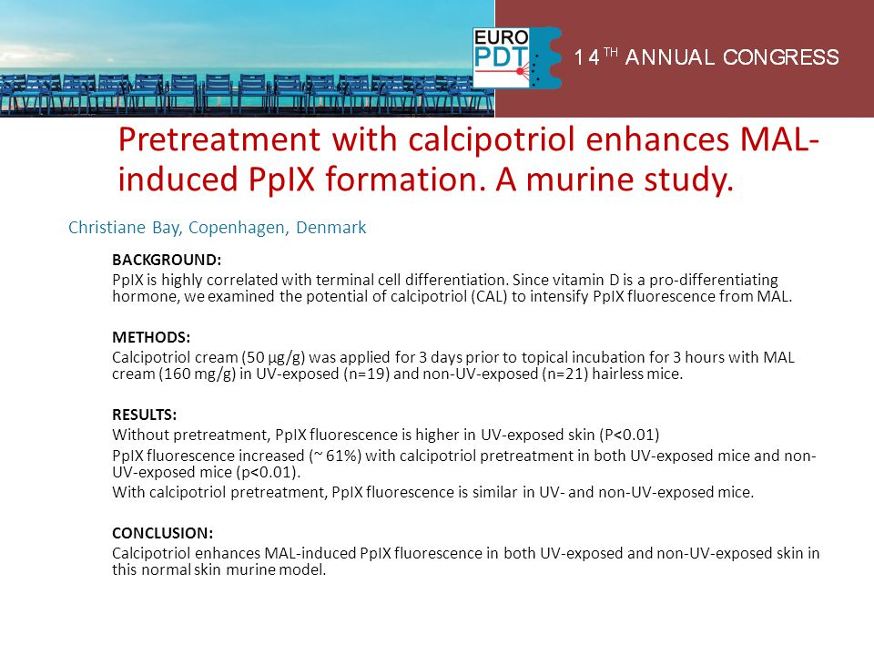 Pretreatment with calcipotriol enhances MAL-induced PpIX formation
