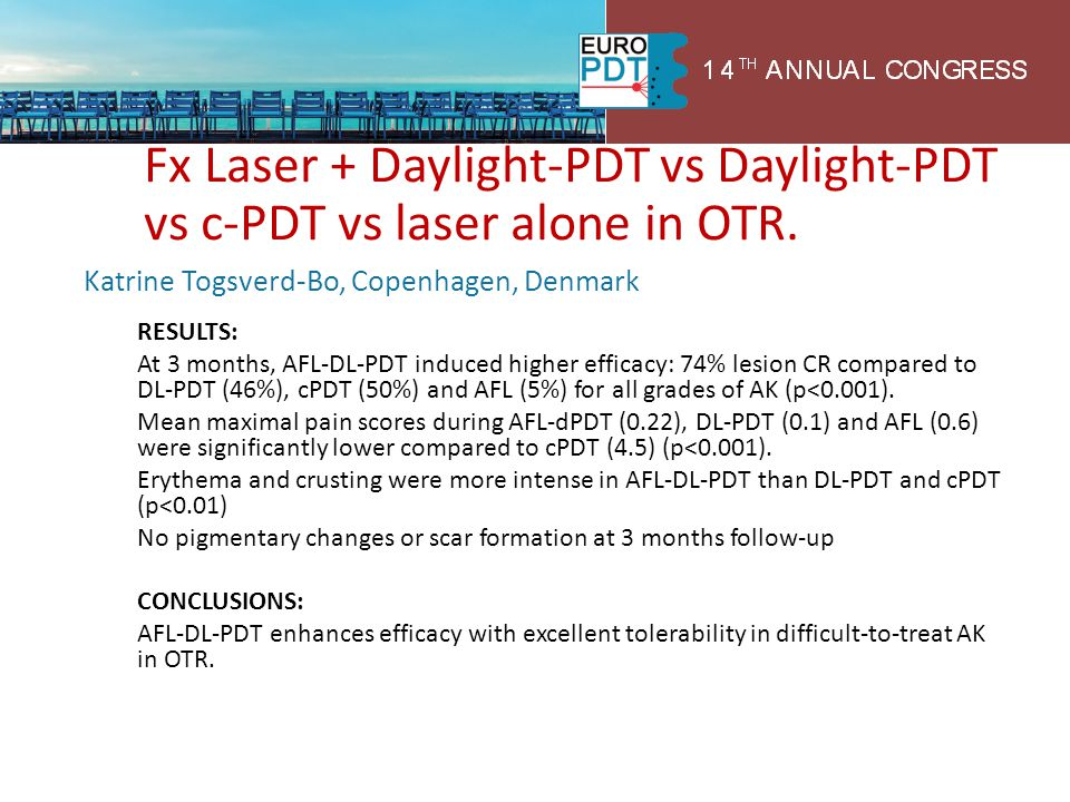 Fx Laser + Daylight-PDT vs Daylight-PDT vs c-PDT vs laser alone in OTR.