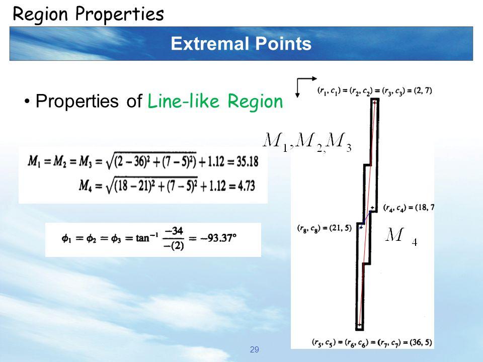 Region Properties Extremal Points Properties of Line-like Region