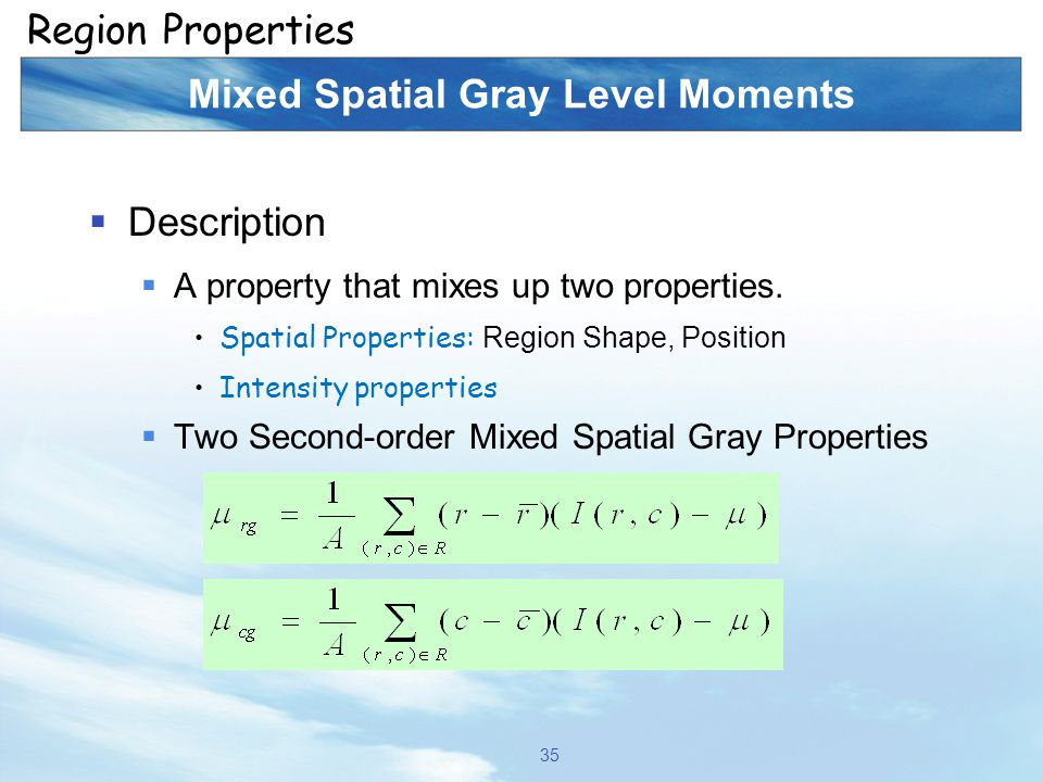 Mixed Spatial Gray Level Moments