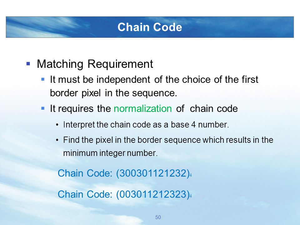Chain Code Matching Requirement