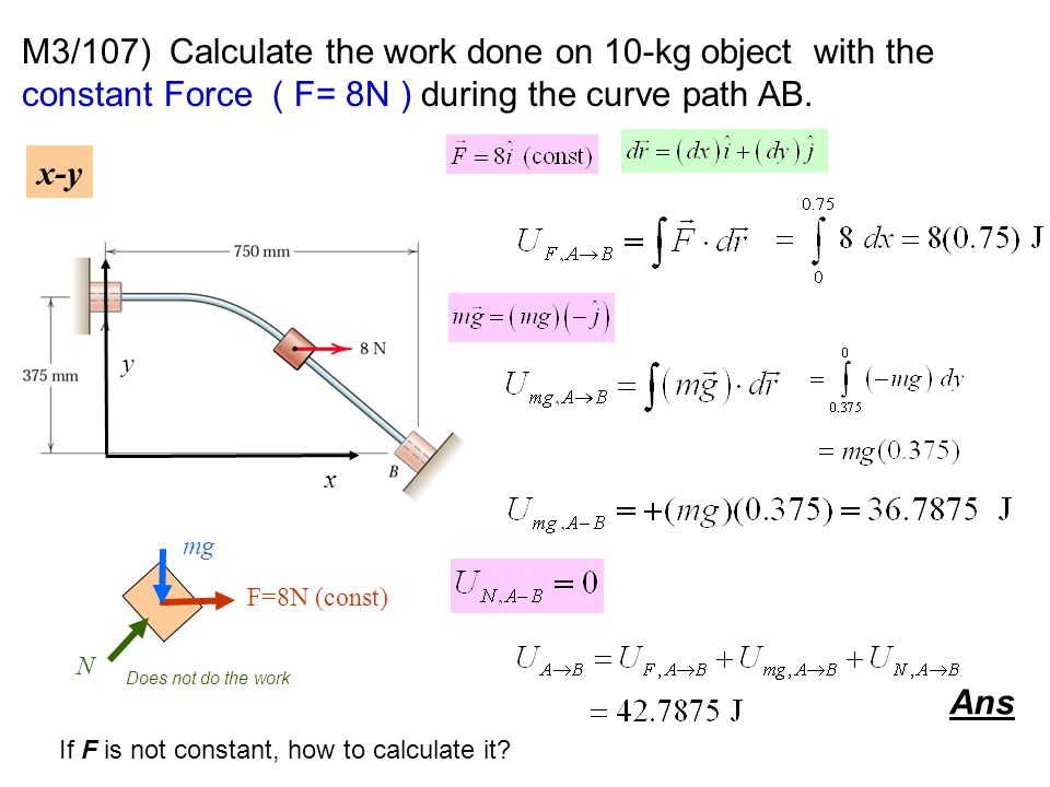 M3/107) Calculate the work done on 10-kg object with the constant Force ( F= 8N ) during the curve path AB.