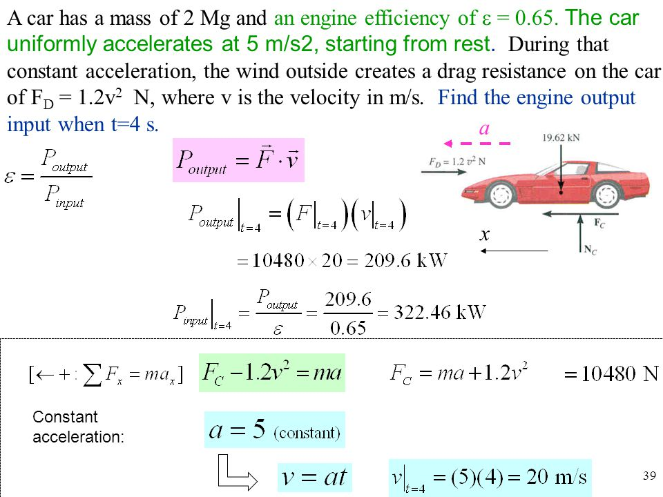 A car has a mass of 2 Mg and an engine efficiency of e = 0. 65