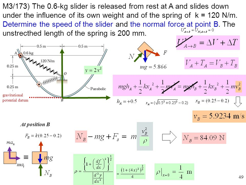 M3/173) The 0.6-kg slider is released from rest at A and slides down under the influence of its own weight and of the spring of k = 120 N/m. Determine the speed of the slider and the normal force at point B. The unstrecthed length of the spring is 200 mm.