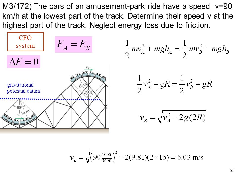 M3/172) The cars of an amusement-park ride have a speed v=90 km/h at the lowest part of the track. Determine their speed v at the highest part of the track. Neglect energy loss due to friction.