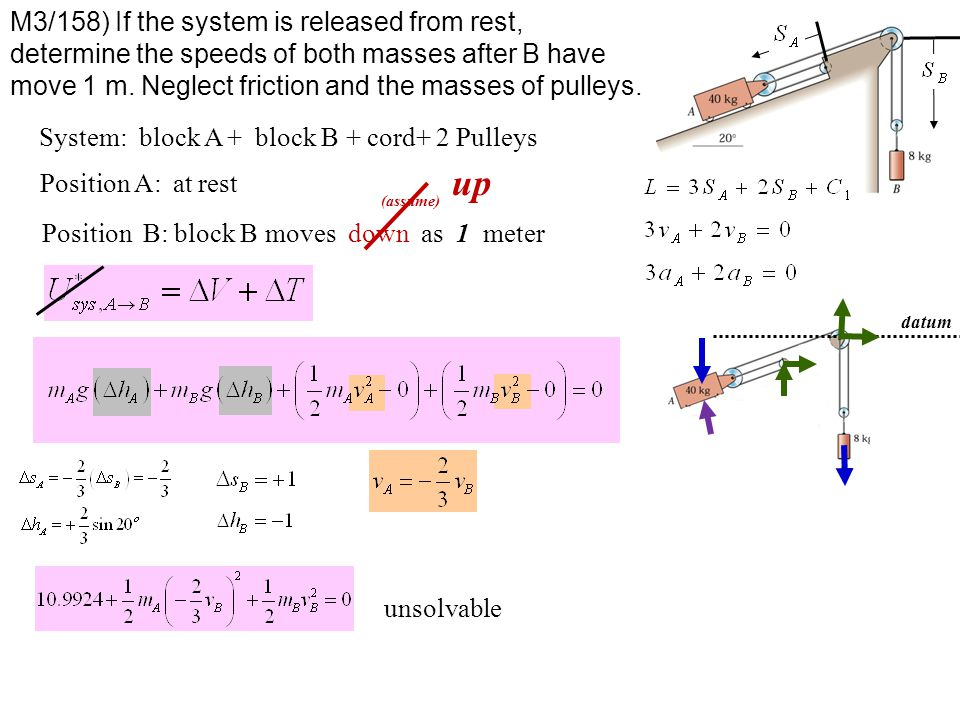 M3/158) If the system is released from rest, determine the speeds of both masses after B have move 1 m. Neglect friction and the masses of pulleys.