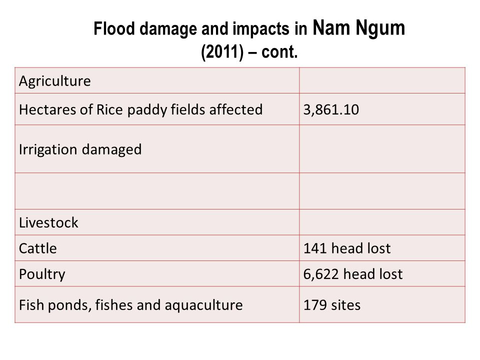 Flood damage and impacts in Nam Ngum (2011) – cont.
