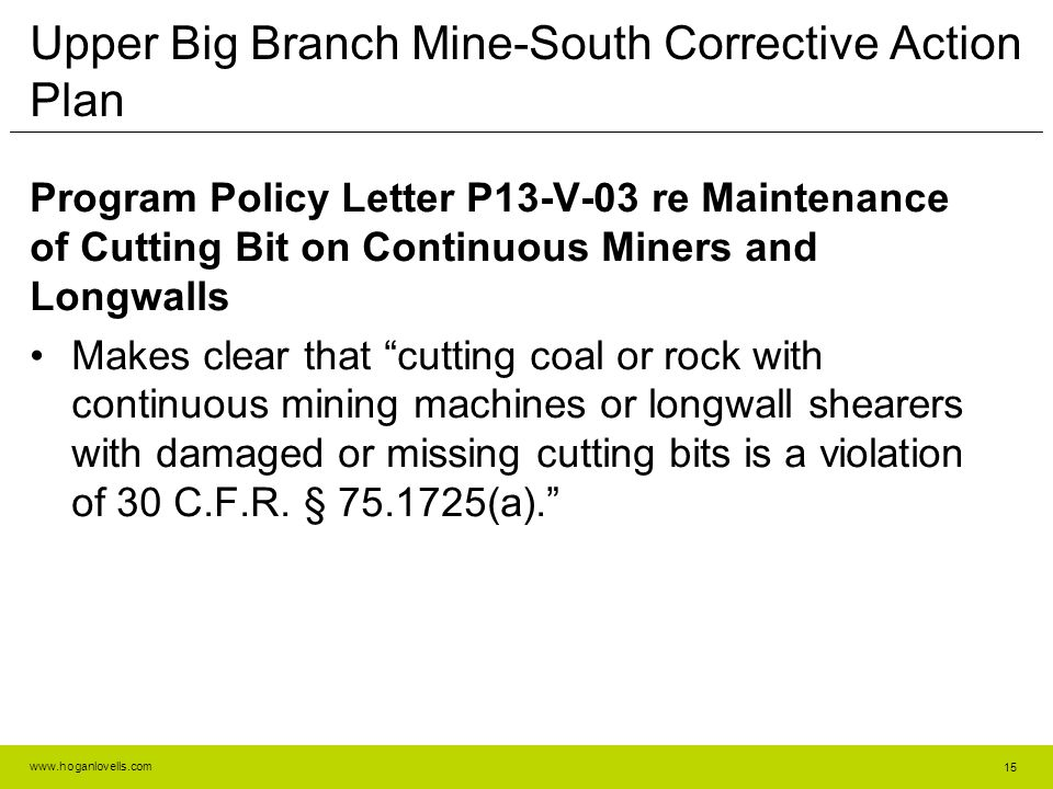 Upper Big Branch Mine-South Corrective Action Plan