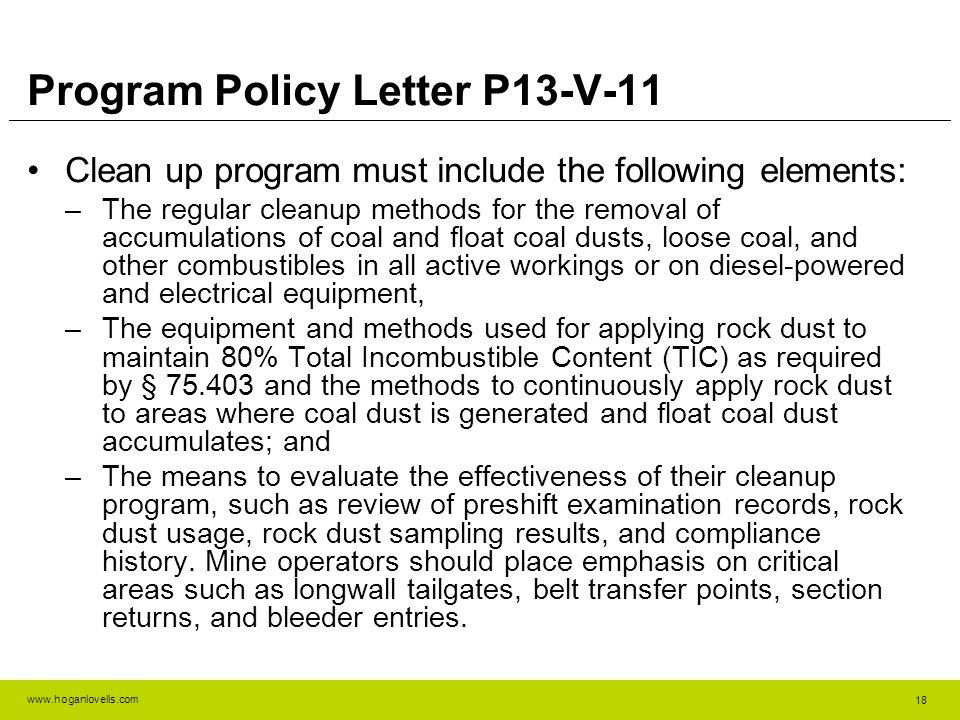Program Policy Letter P13-V-11