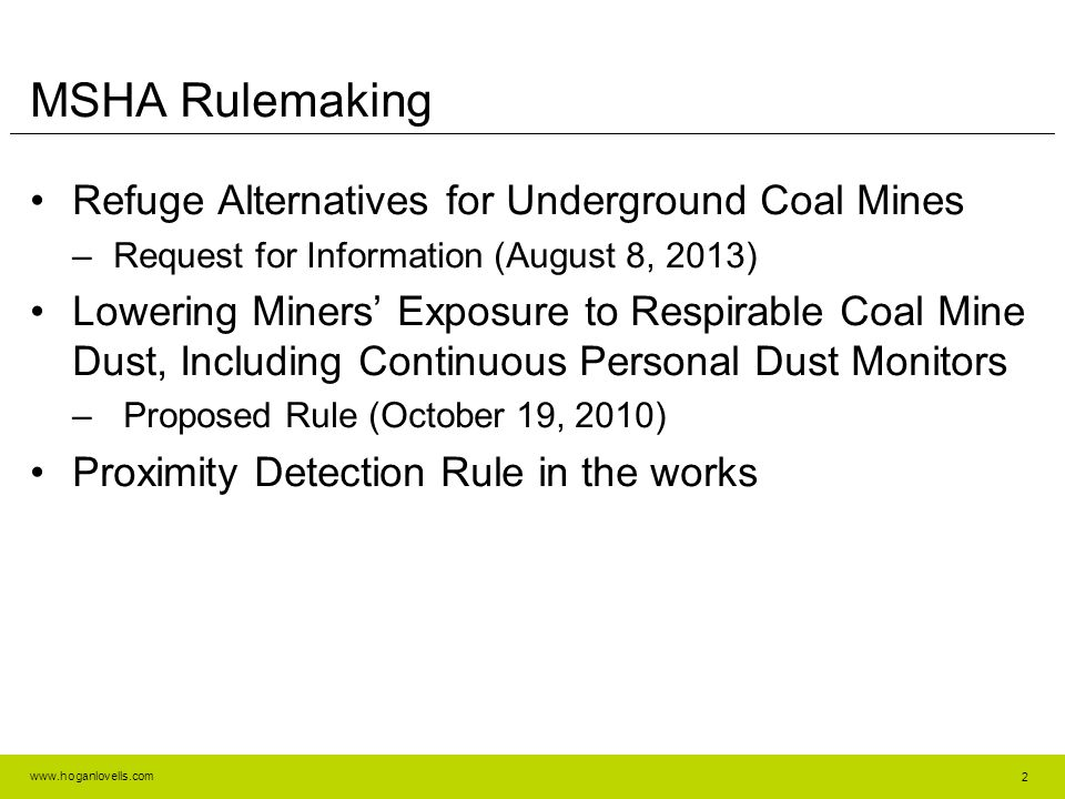 MSHA Rulemaking Refuge Alternatives for Underground Coal Mines