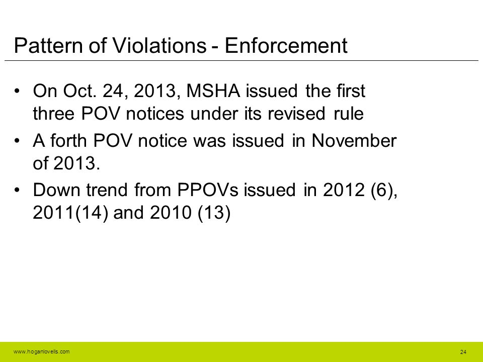 Pattern of Violations - Enforcement