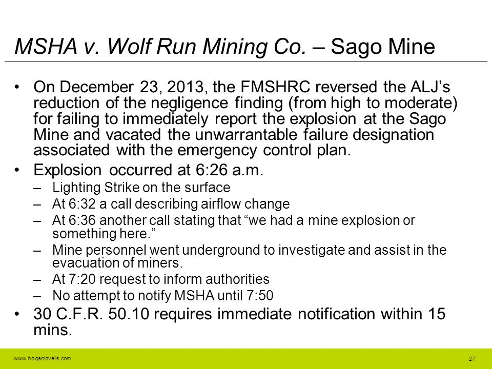 MSHA v. Wolf Run Mining Co. – Sago Mine