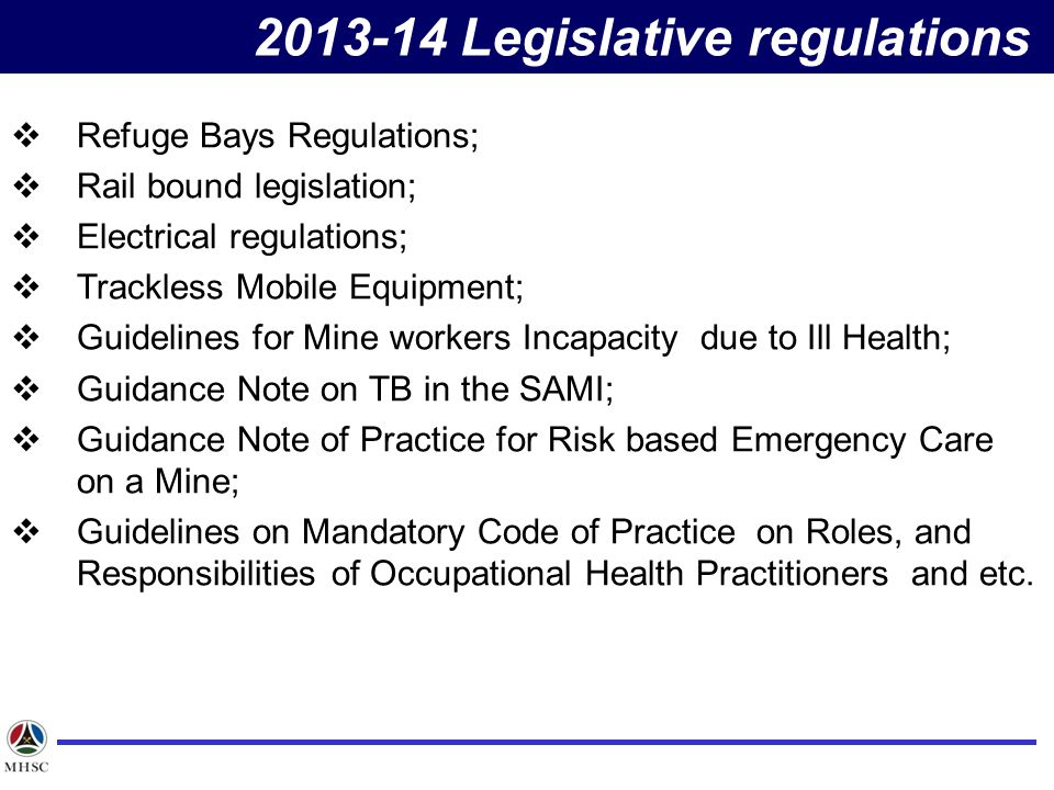 2013-14 Legislative regulations