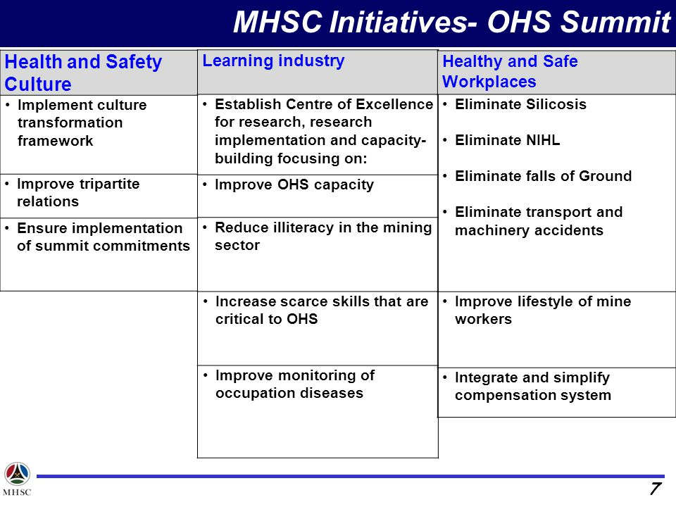 MHSC Initiatives- OHS Summit
