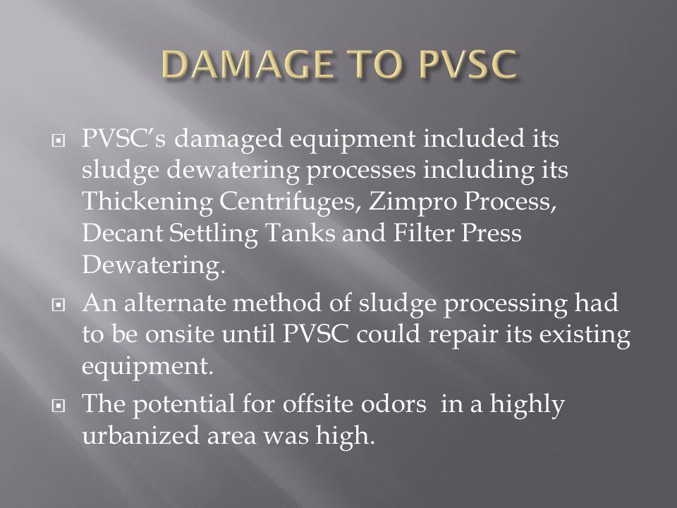 DAMAGE TO PVSC