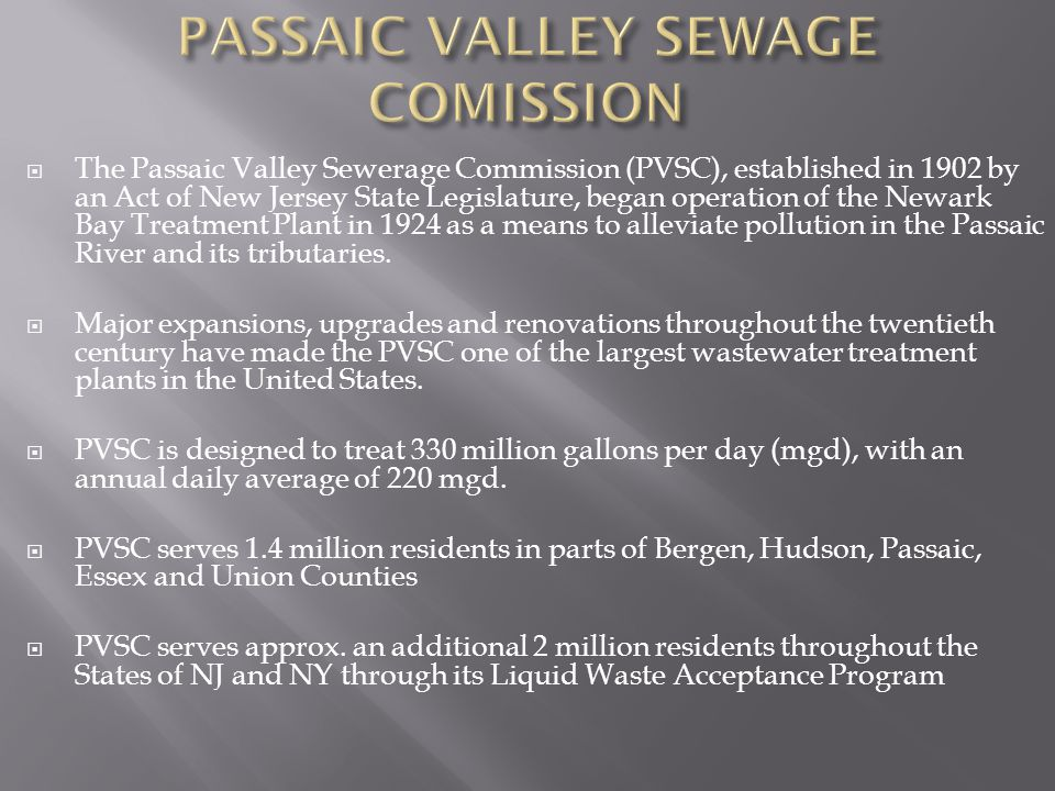 PASSAIC VALLEY SEWAGE COMISSION