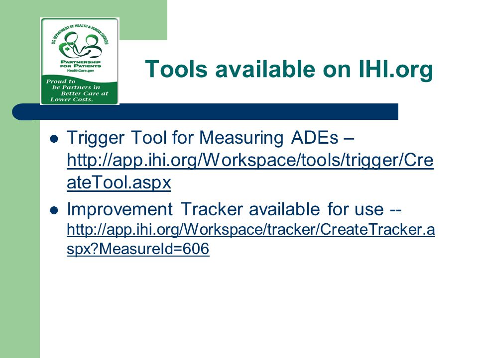 Tools available on IHI.org