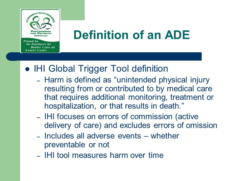 Definition of an ADE IHI Global Trigger Tool definition