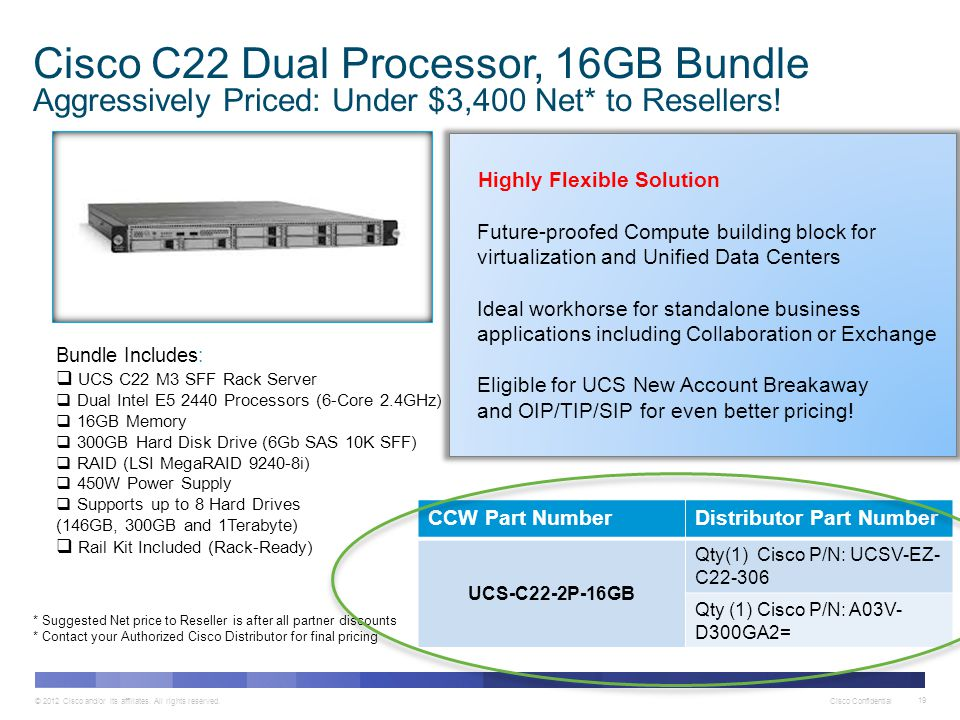 Cisco C22 Dual Processor, 16GB Bundle Aggressively Priced: Under $3,400 Net* to Resellers!
