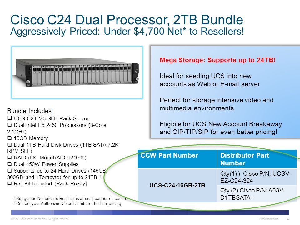 Cisco C24 Dual Processor, 2TB Bundle Aggressively Priced: Under $4,700 Net* to Resellers!