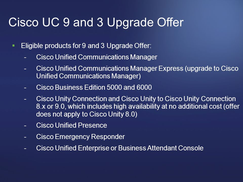 Cisco UC 9 and 3 Upgrade Offer