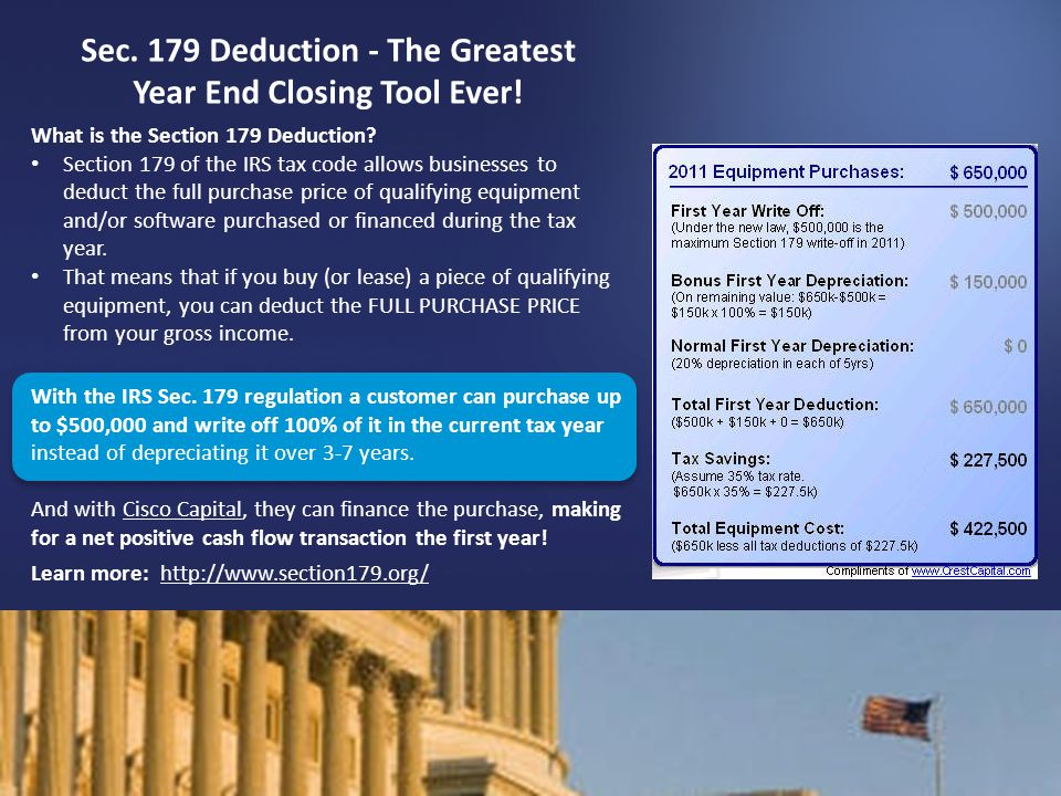 Sec. 179 Deduction - The Greatest Year End Closing Tool Ever!