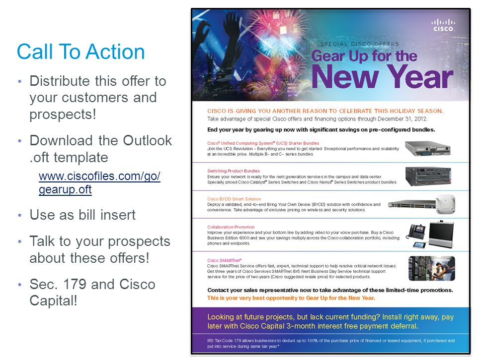 Call To Action Distribute this offer to your customers and prospects!