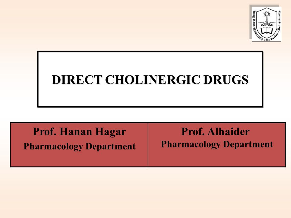 DIRECT CHOLINERGIC DRUGS Pharmacology Department