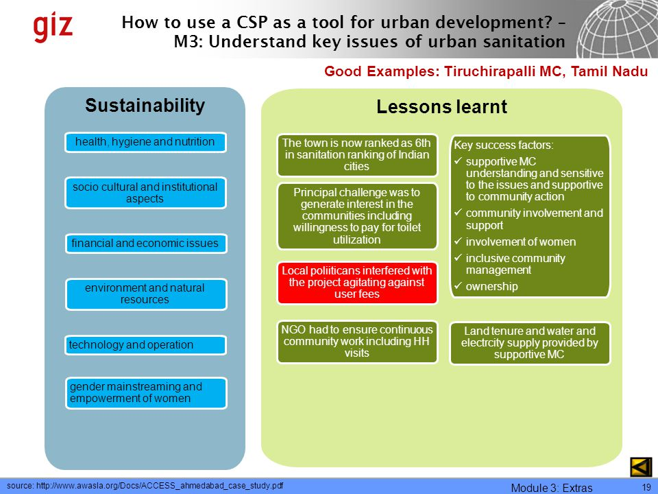 Sustainability Lessons learnt