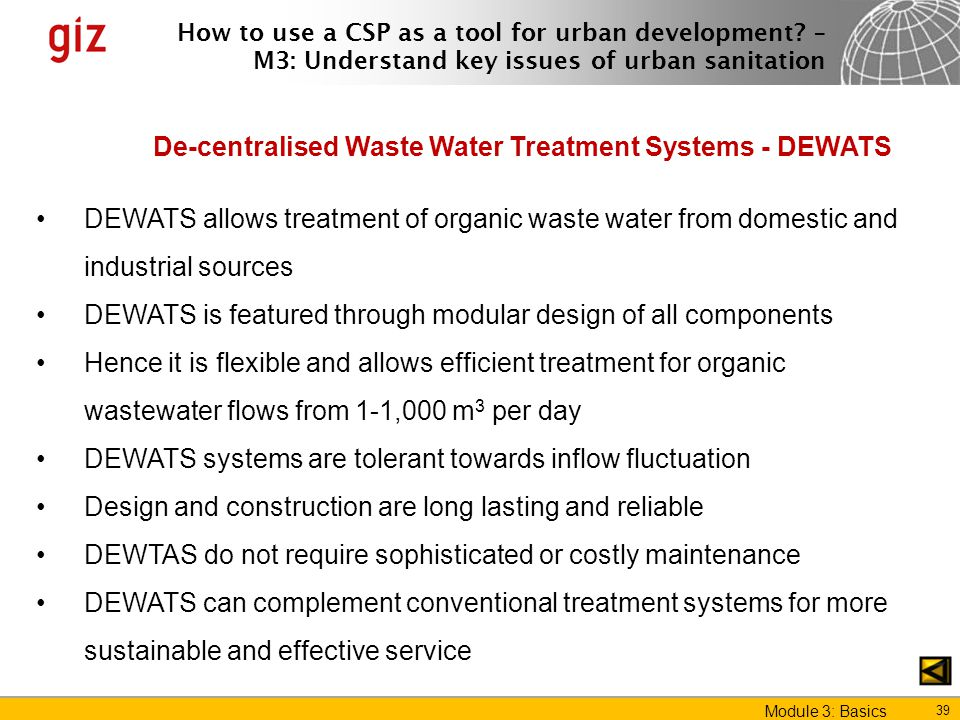 De-centralised Waste Water Treatment Systems - DEWATS