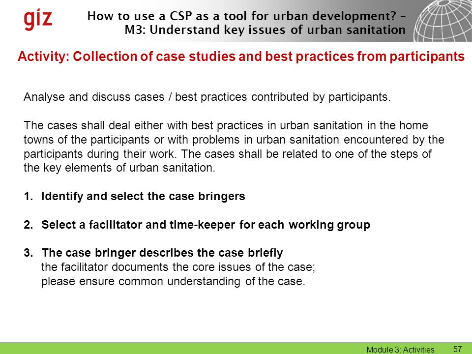 Activity: Collection of case studies and best practices from participants