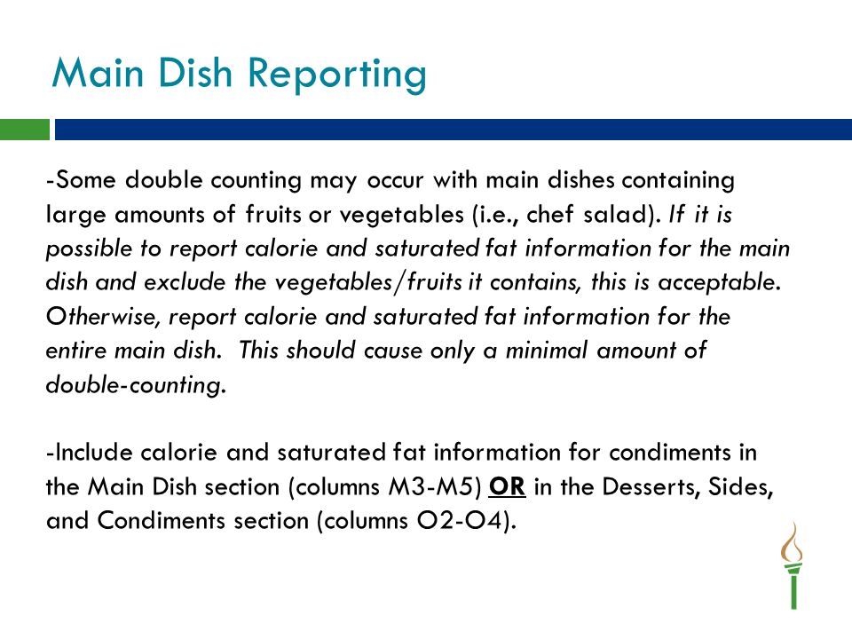 Main Dish Reporting