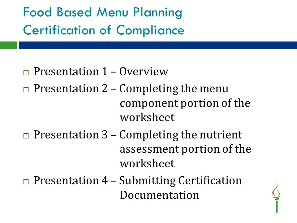 Food Based Menu Planning Certification of Compliance