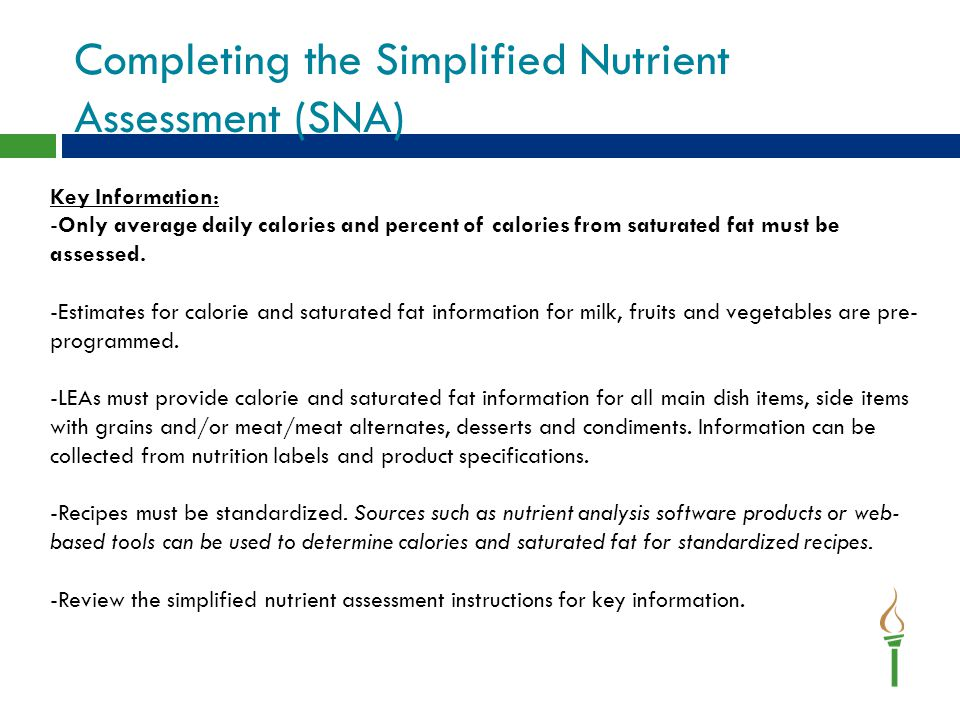 Completing the Simplified Nutrient Assessment (SNA)