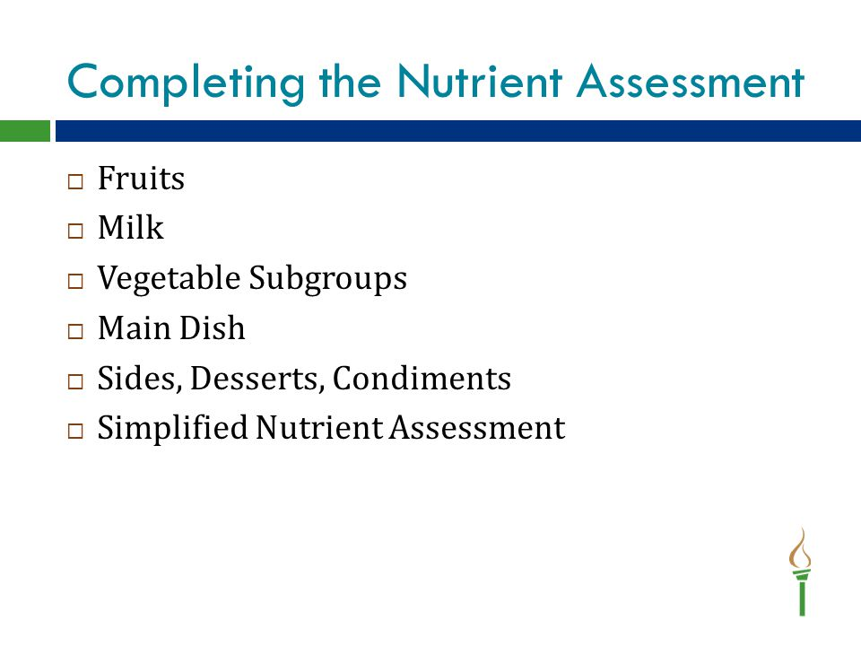 Completing the Nutrient Assessment