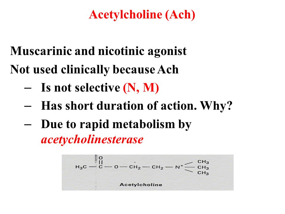 Acetylcholine (Ach) Muscarinic and nicotinic agonist. Not used clinically because Ach. Is not selective (N, M)