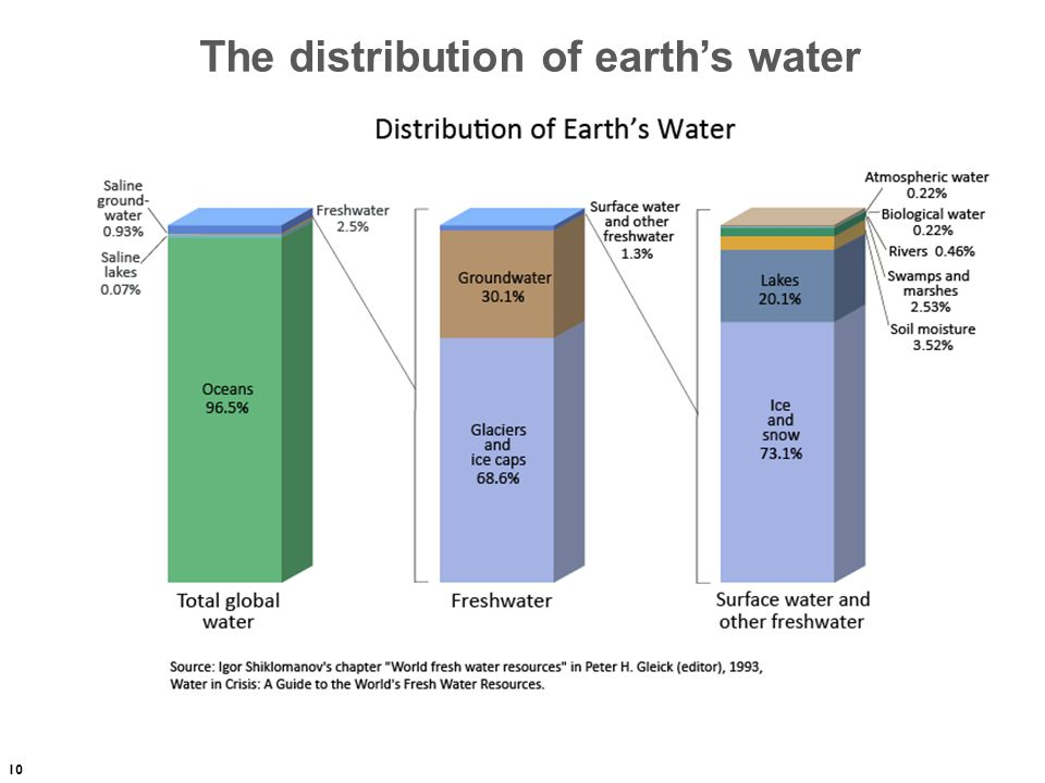 The distribution of earth's water