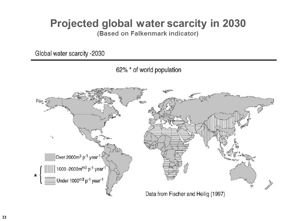 Projected global water scarcity in 2030 (Based on Falkenmark indicator)