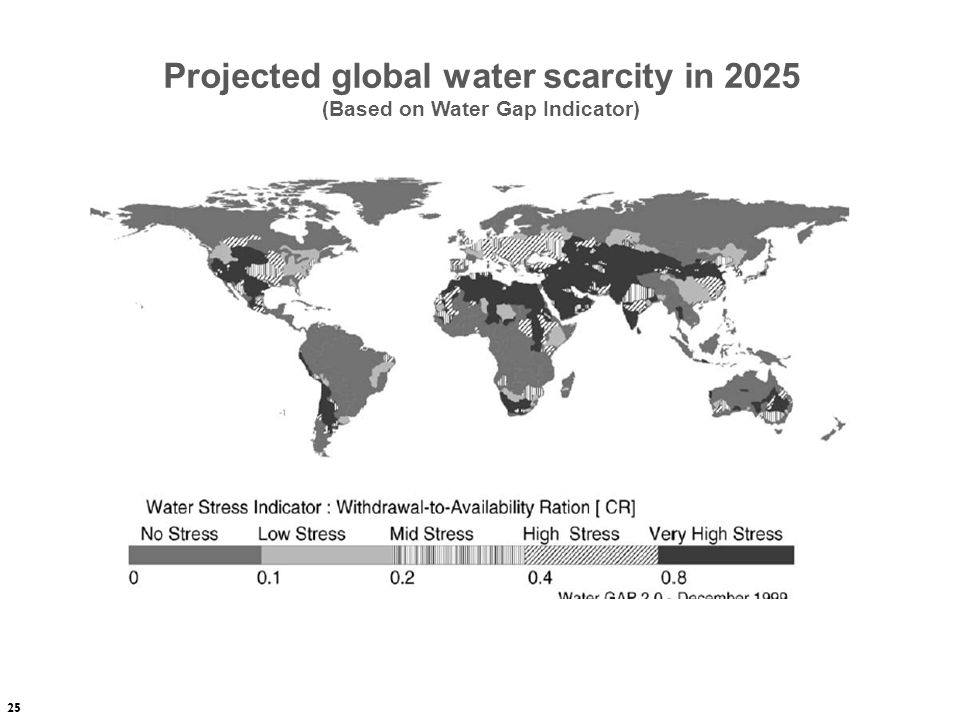 Projected global water scarcity in 2025 (Based on Water Gap Indicator)