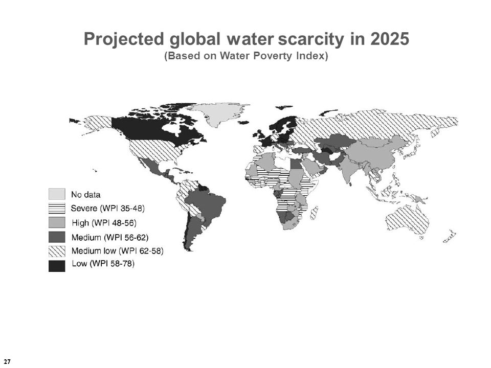 Projected global water scarcity in 2025 (Based on Water Poverty Index)