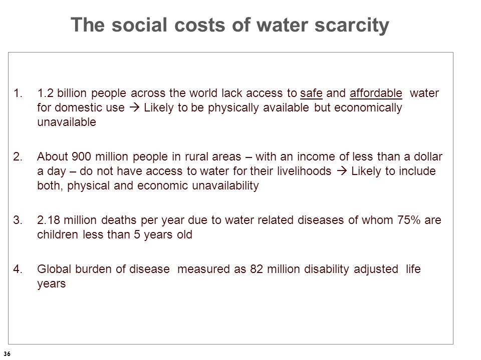 The social costs of water scarcity