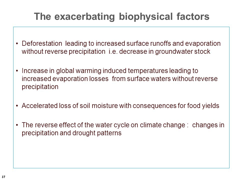 The exacerbating biophysical factors