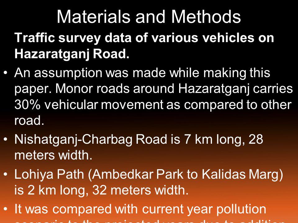 Materials and Methods Traffic survey data of various vehicles on Hazaratganj Road.