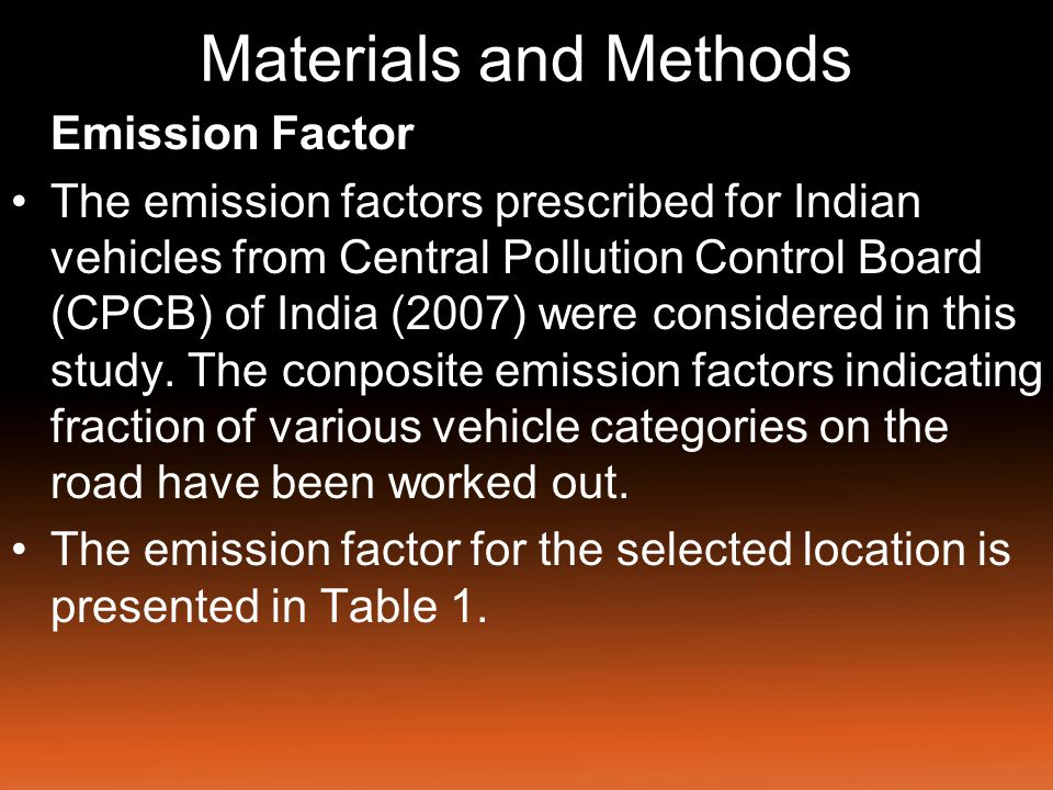 Materials and Methods Emission Factor