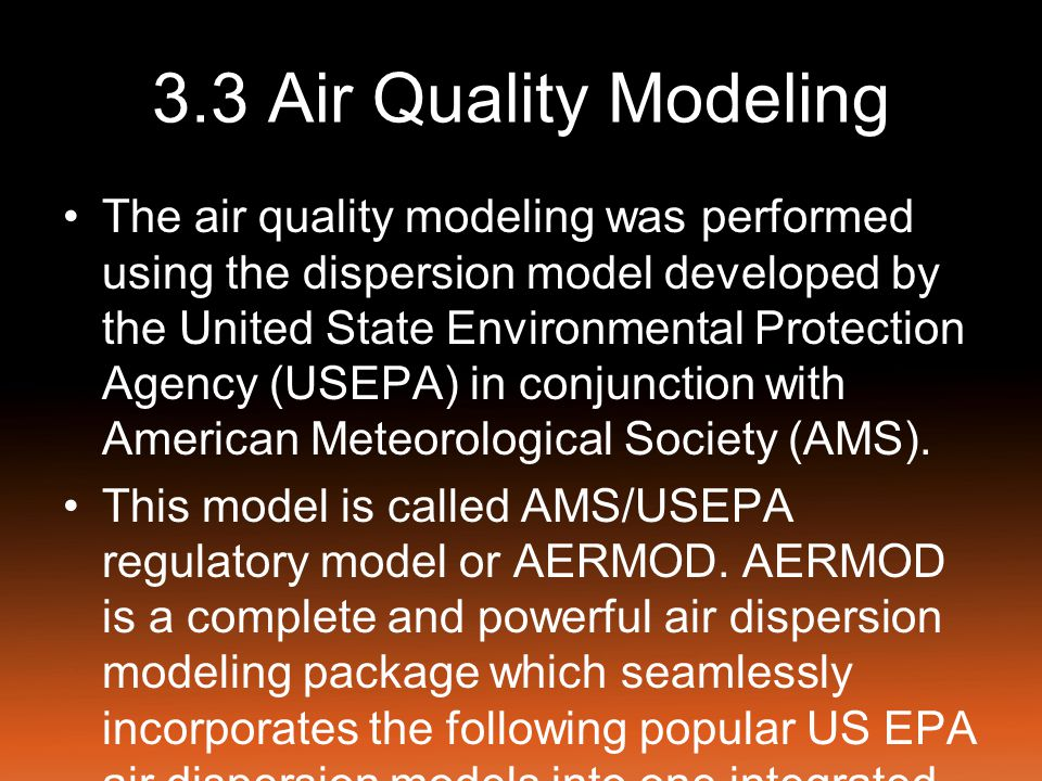 3.3 Air Quality Modeling