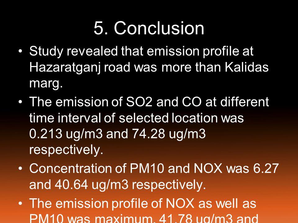 5. Conclusion Study revealed that emission profile at Hazaratganj road was more than Kalidas marg.
