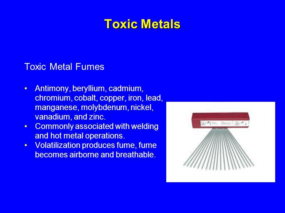 Toxic Metals Toxic Metal Fumes Antimony, beryllium, cadmium,